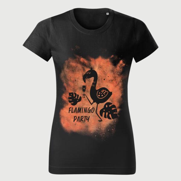 Tricou Femei Negru Vintage Flamingo Party