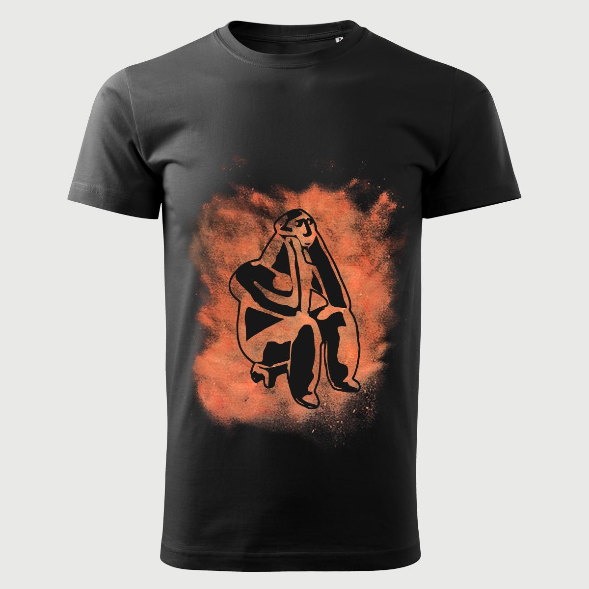 Tricou Negru Decolorat Clor Ganditorul De La Hamangia