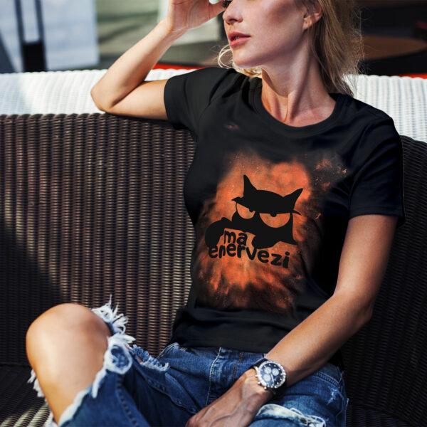 Tricou Negru Pisica Vintage Femei Ma Enervezi 2