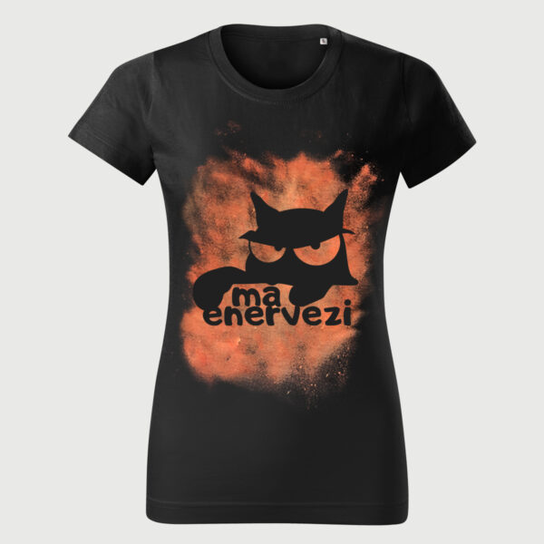 Tricou Negru Pisica Vintage Femei Ma Enervezi