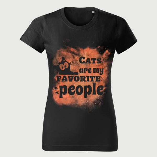 Tricou Negru Vintage Femei Pisici Favorite
