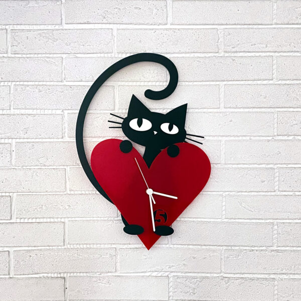 pisicuta iubitoare ceas de perete